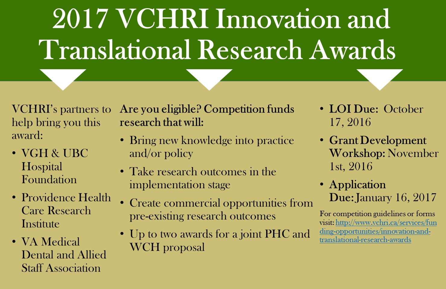2017 VCHRI Innovation and Translational Research Awards. Visit http://www.vchri.ca/services/funding-opportunities/innovation-and-translational-research-awards for guidelines and forms.
