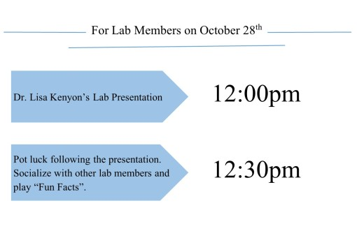 On October 28th come see Dr. Lisa Kenyon's Visiting Scholar's Presentation at 12: 00 pm when RRP staff are invited to the potluck at 12:30 pm.