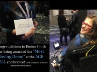 """""""Congradulations to Emma Smith for being Awarded the 'Most Moving Demo' at the AGEWELL Conference!"""" *Picture of Emma Smith in the Chair on left and picture of Emma Smith holding the Award on the left."""